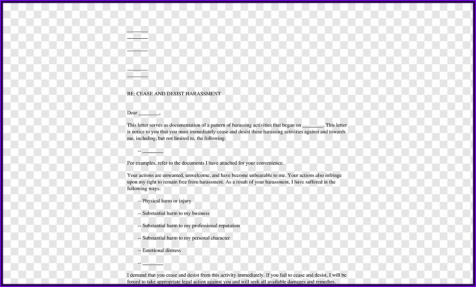 Cease And Desist Letter Template Harassment