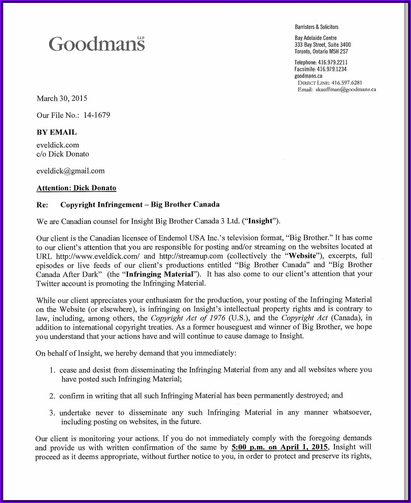 Cease And Desist Letter Template Ontario Canada