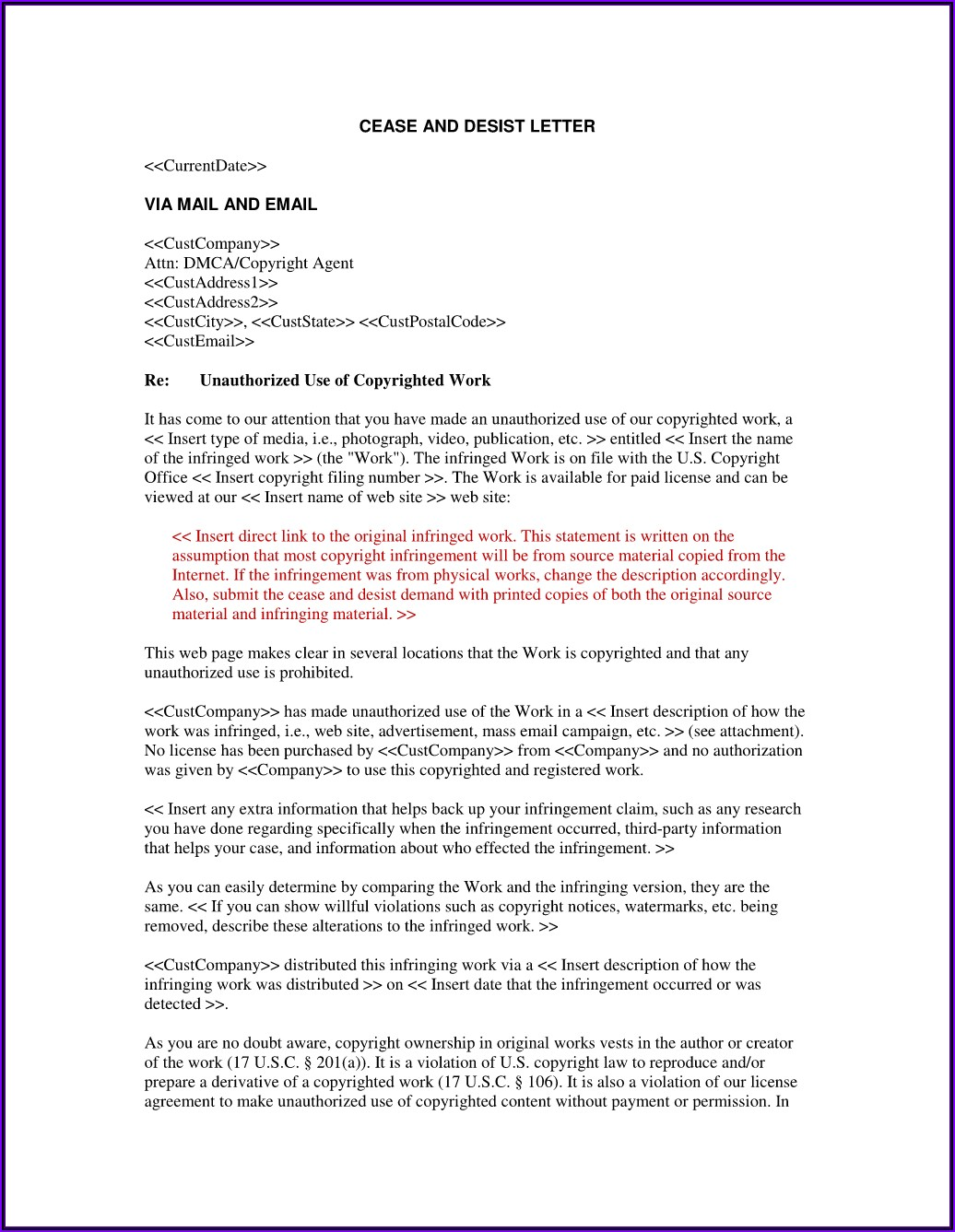 Cease And Desist Letter Template Uk Trademark
