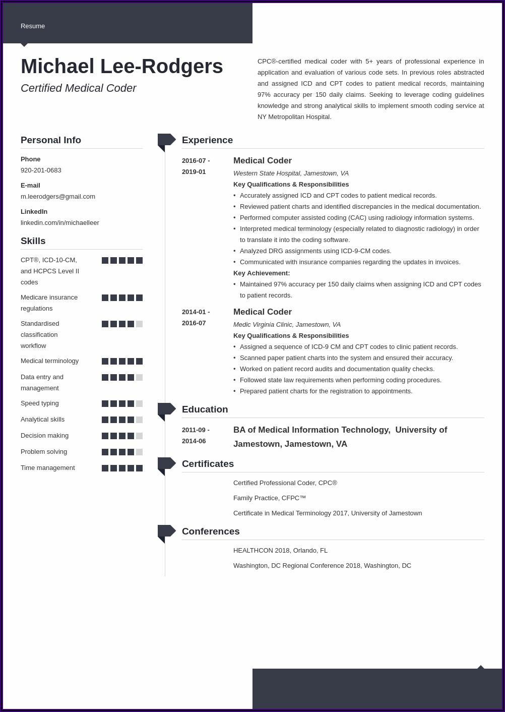 Certified Medical Coder Resume Examples
