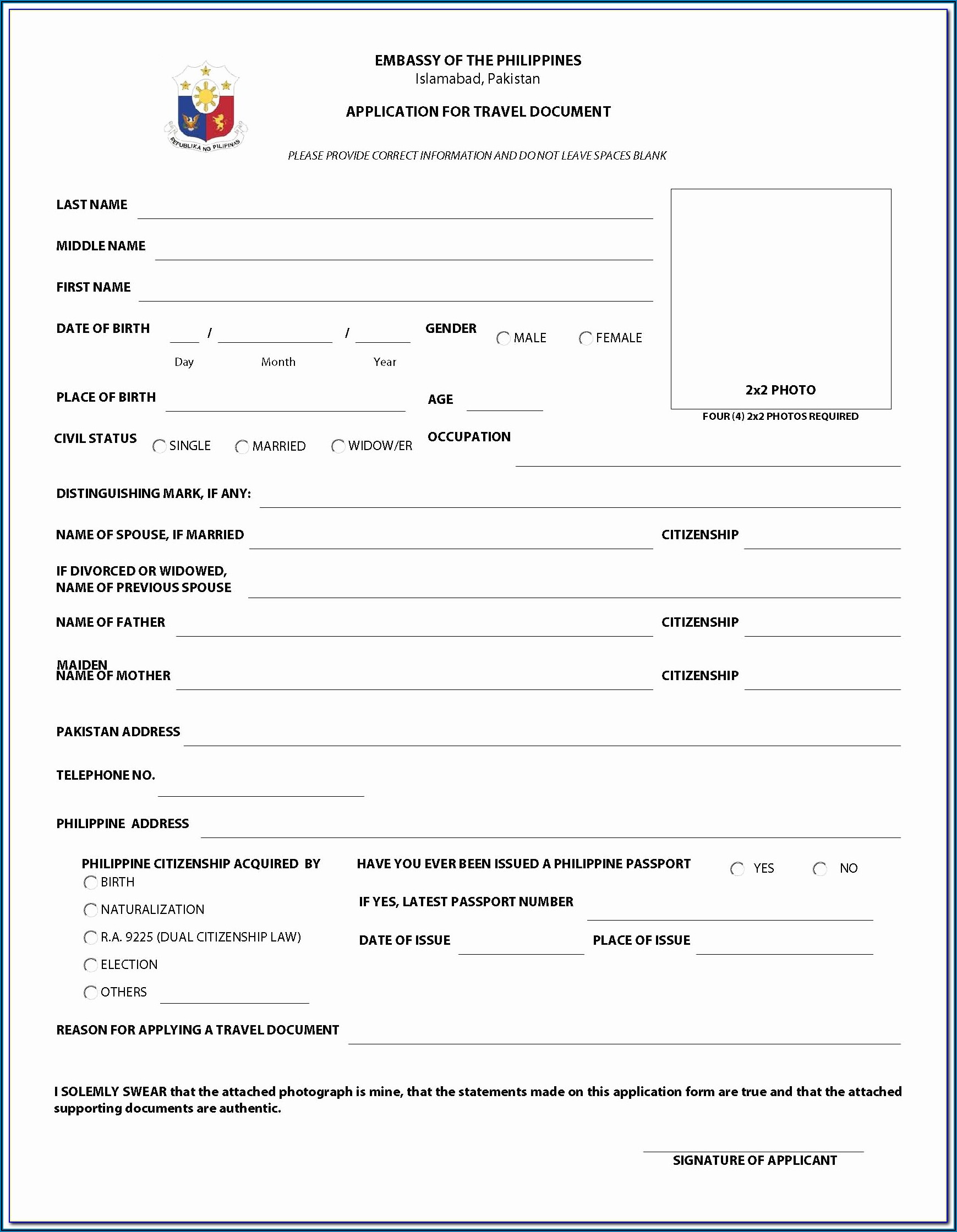 China Visa Application Form Philippines Download