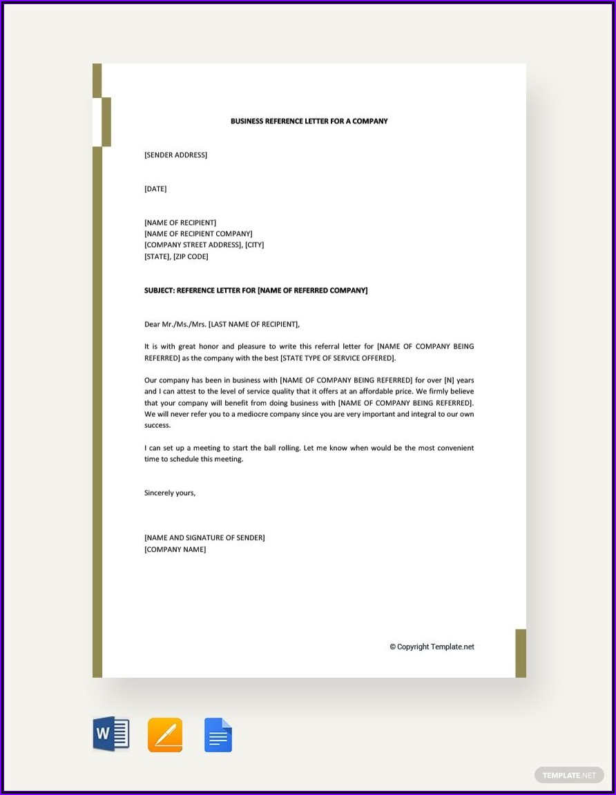 Company Reference Letter Template Word