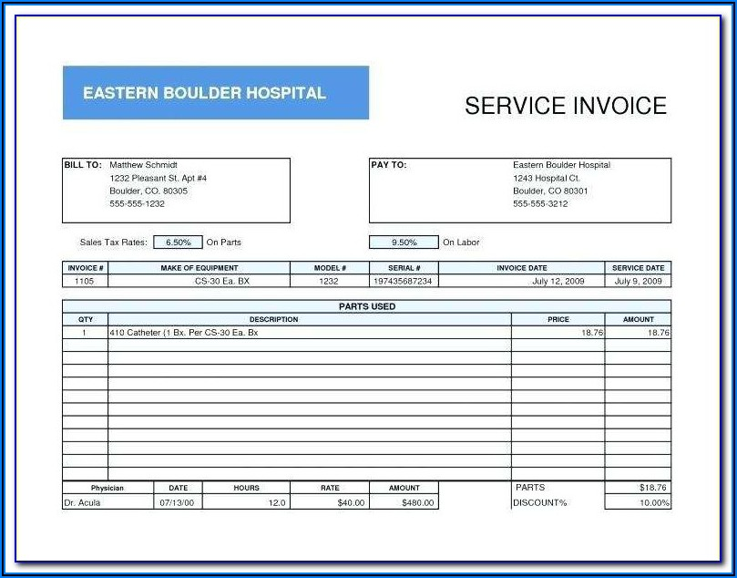 Contract Employee Invoice Template