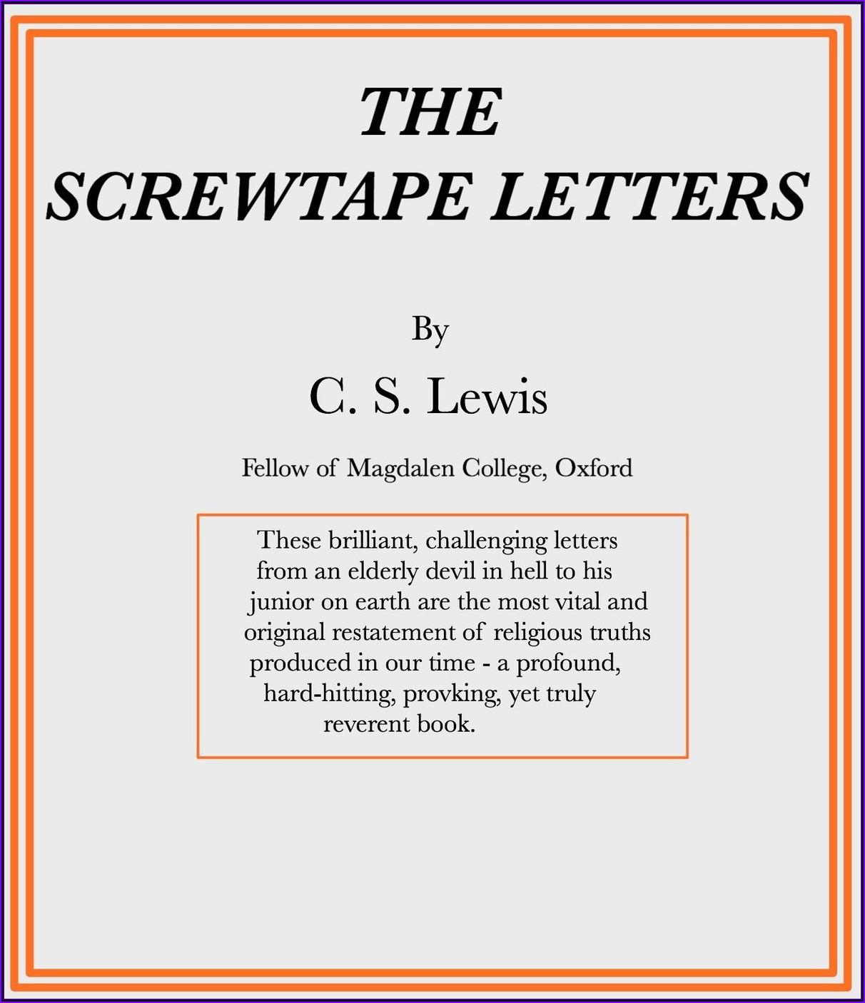 Cs Lewis Screwtape Letters Politics