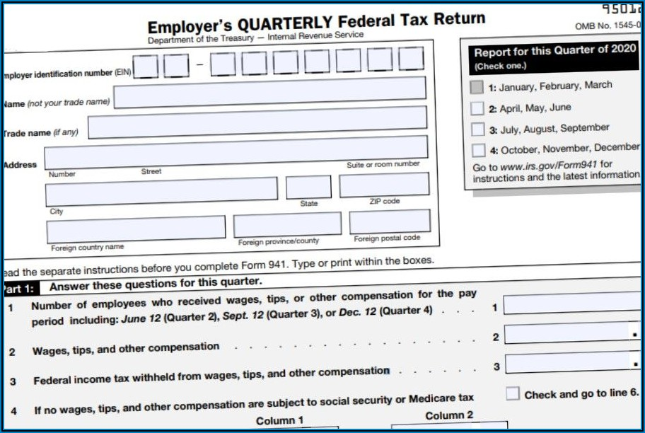 Department Of The Treasury Irs Address Form 941