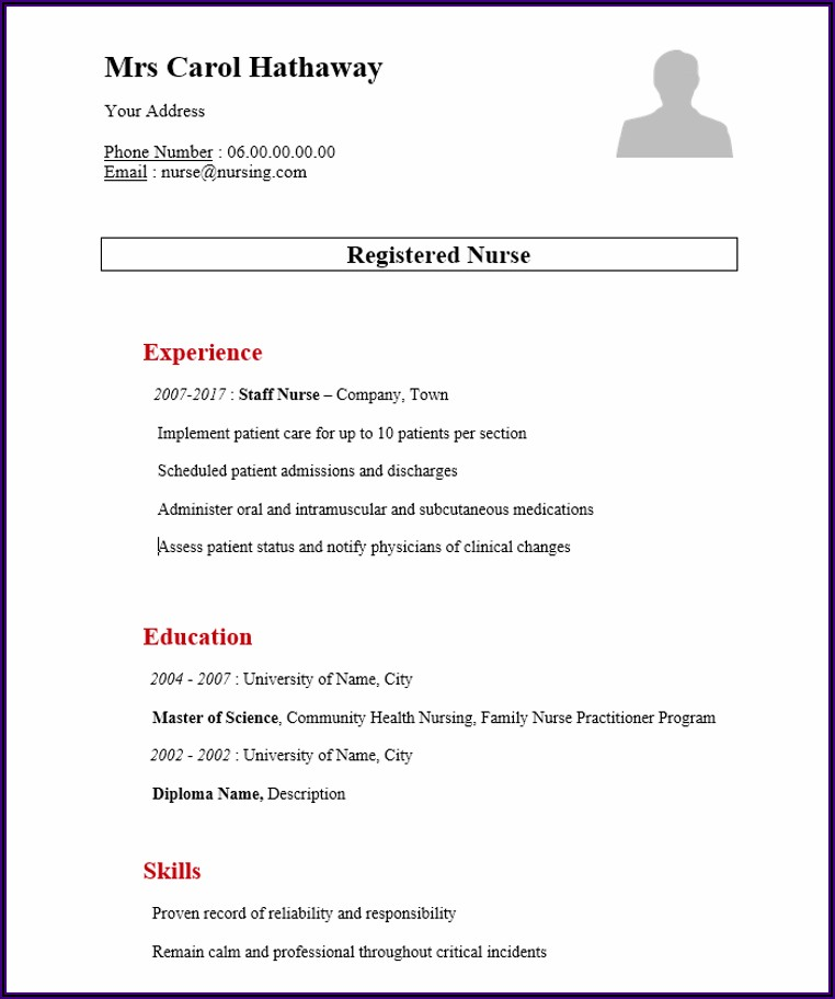 Diploma Nursing Resume Format Free Download