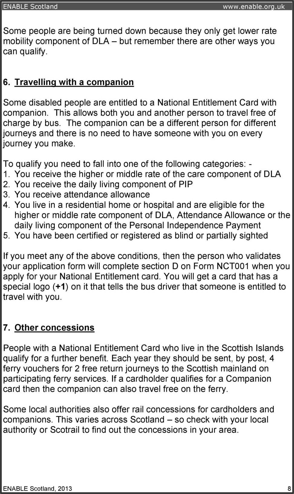 Disability Bus Pass Application Form Scotland