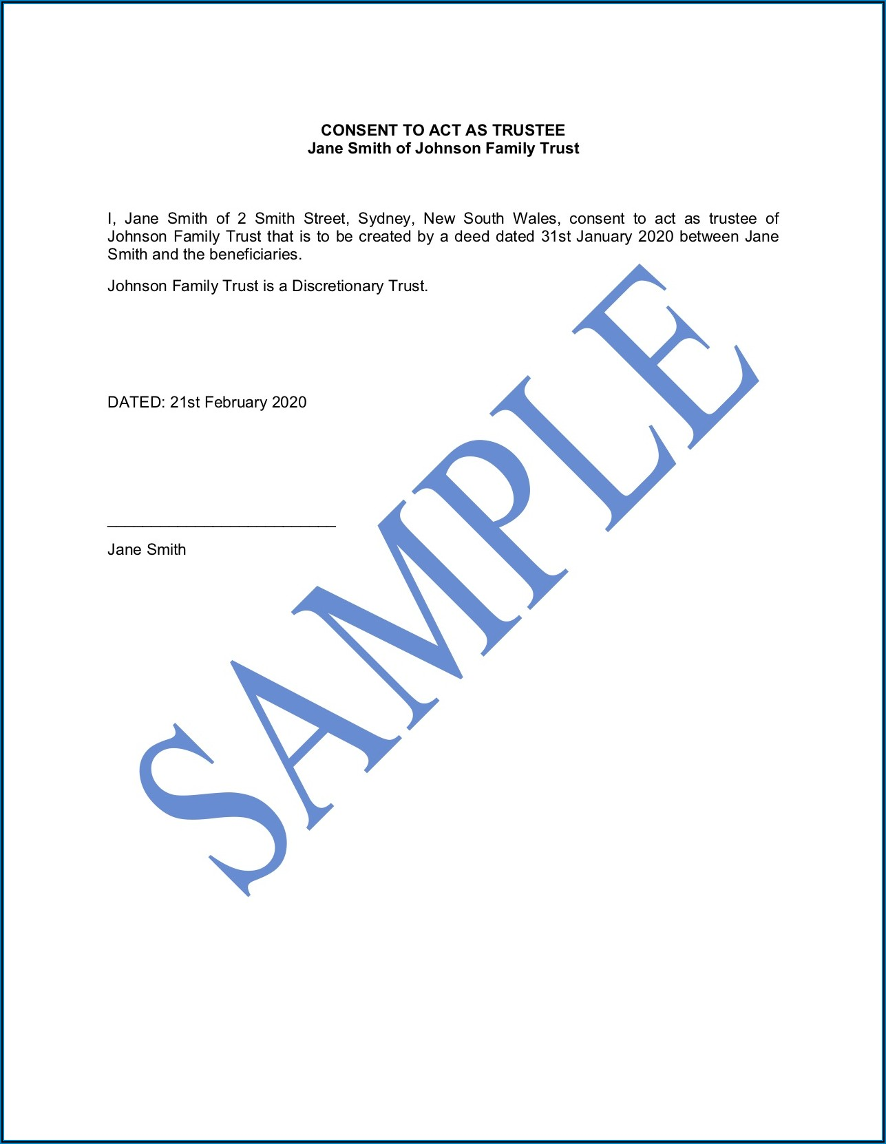Discretionary Trust Form Template