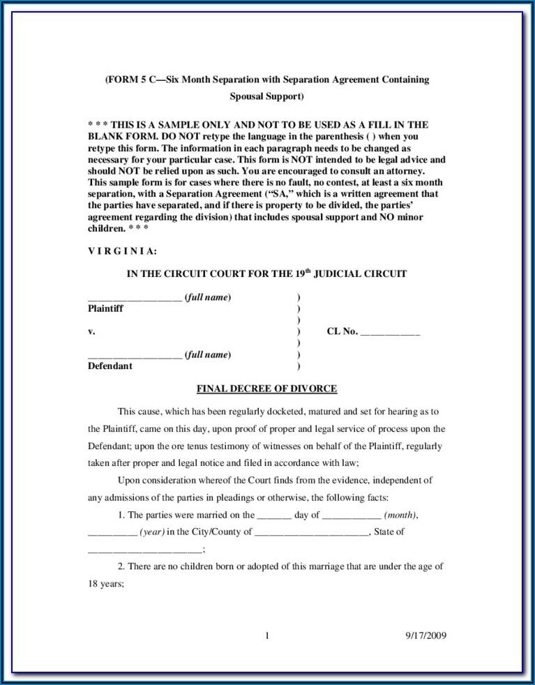 Divorce Papers In Virginia Beach