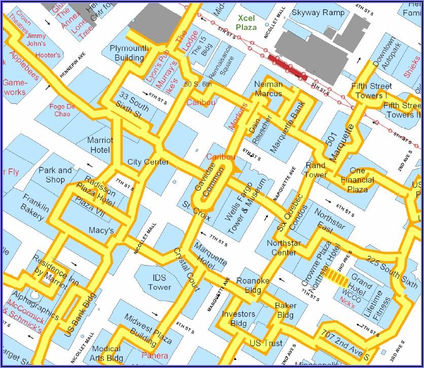 Downtown Minneapolis Skyway Map Printable