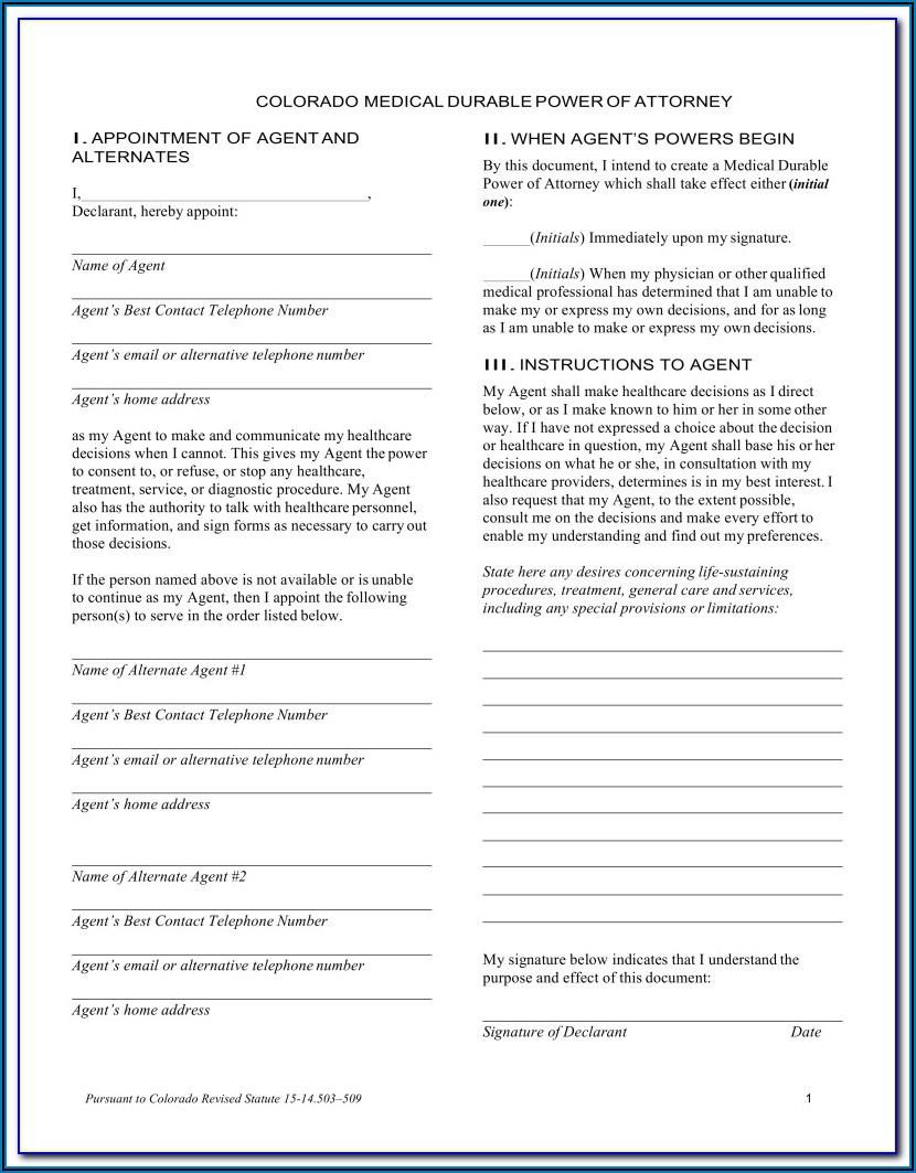 Durable Financial Power Of Attorney Form Colorado
