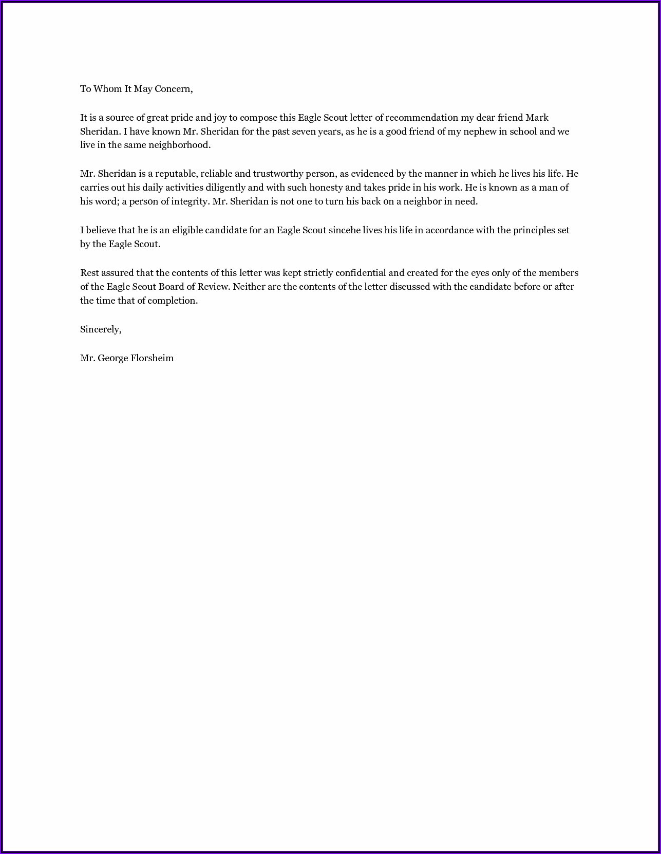Eagle Scout Application Letter Of Recommendation Form