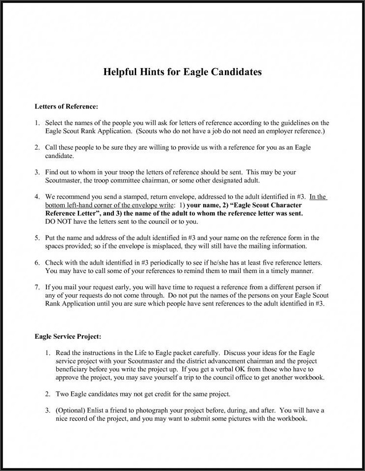 Eagle Scout Letter Of Recommendation Form 2020