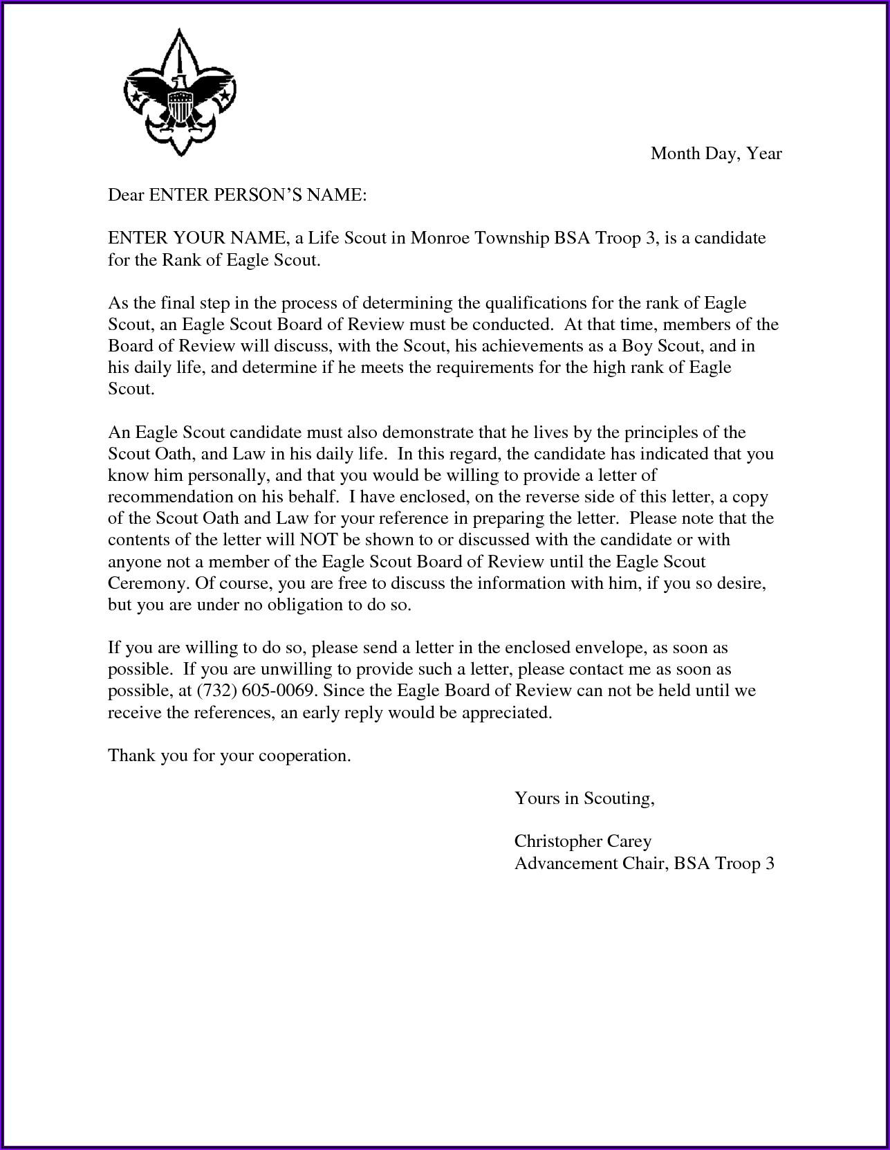Eagle Scout Letter Of Recommendation Form Pdf