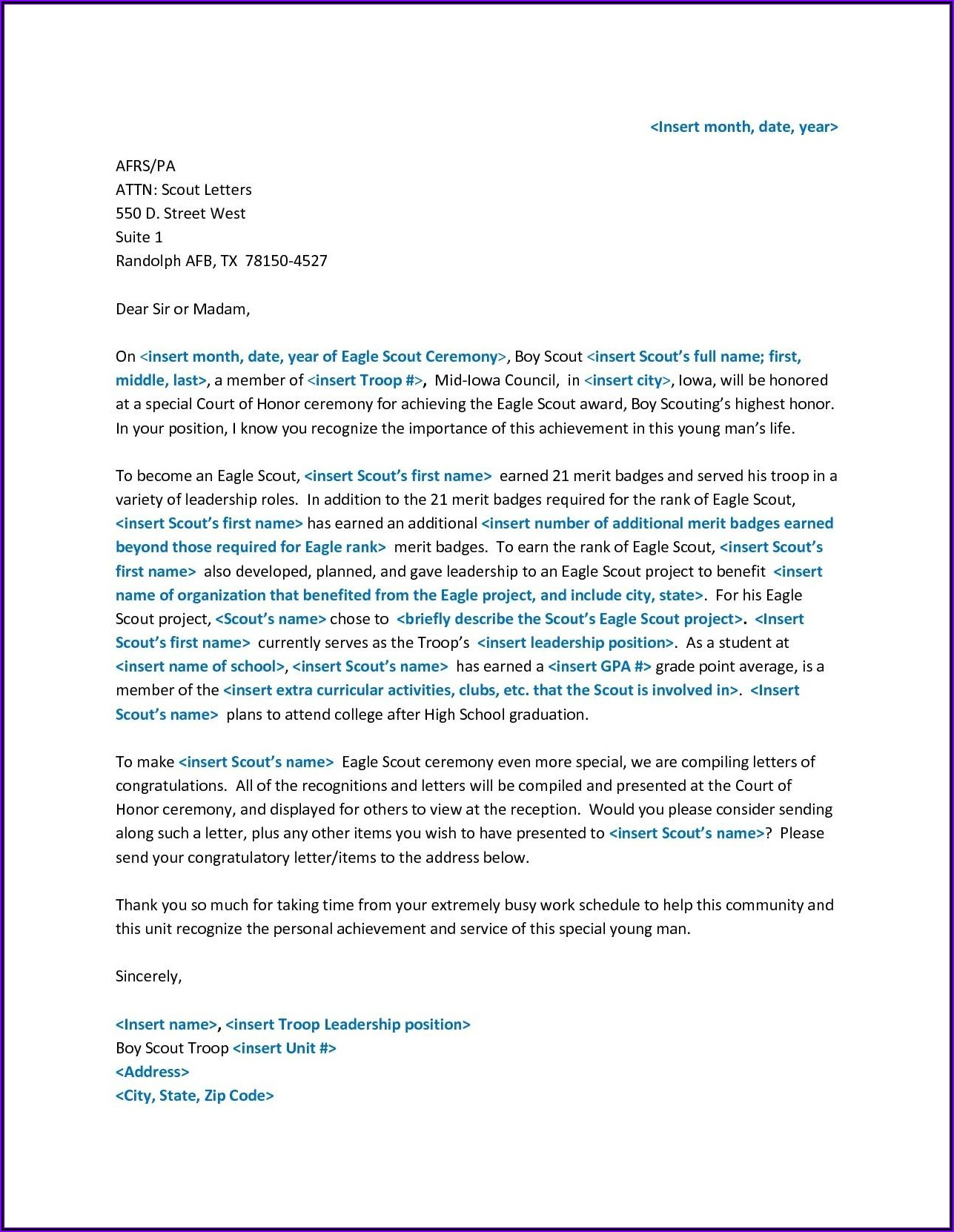 Eagle Scout Letter Of Recommendation Format