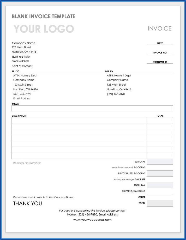 Editable Word Document Invoice Template Word