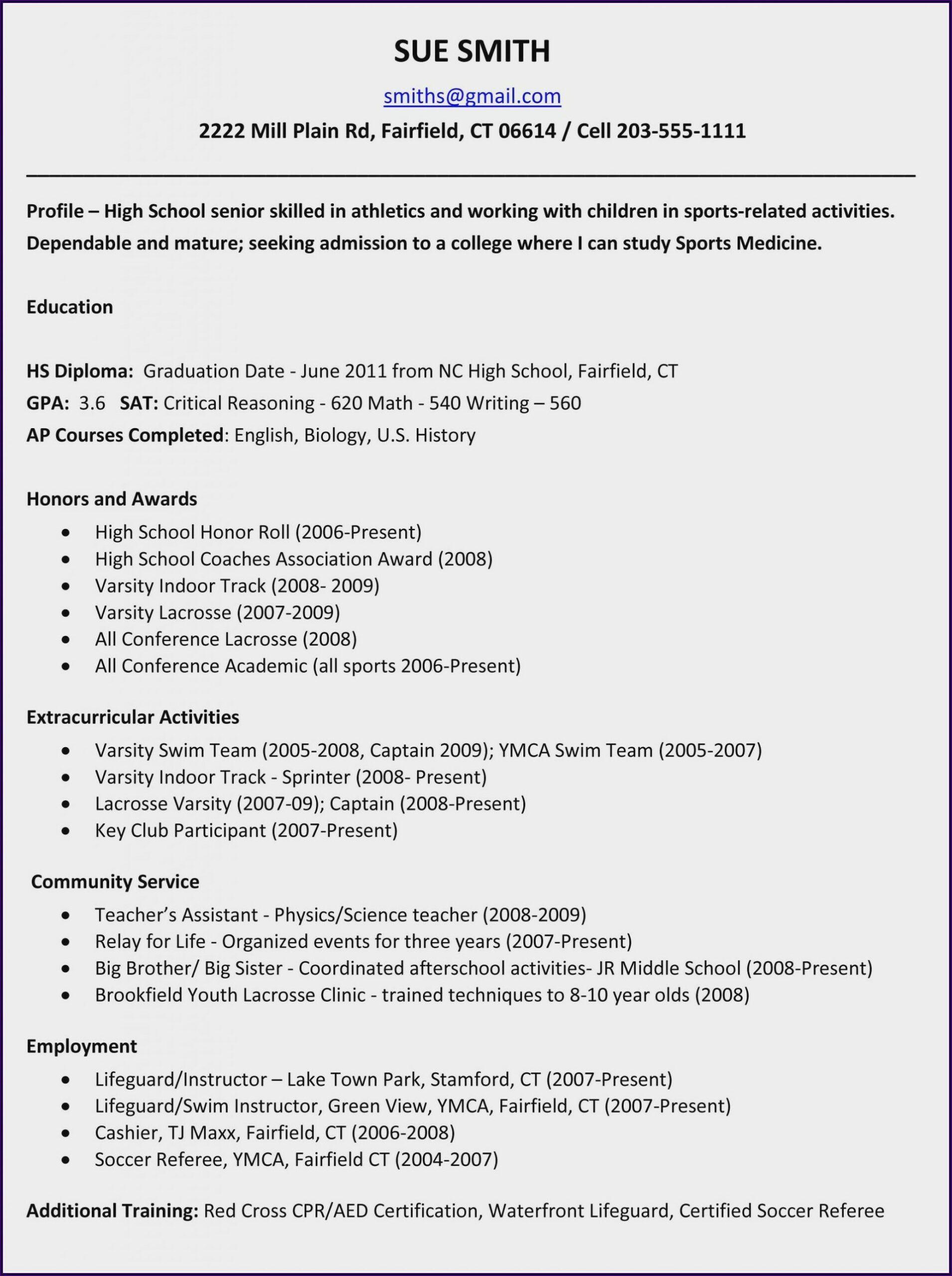 Examples Of Good Resumes For High School Students