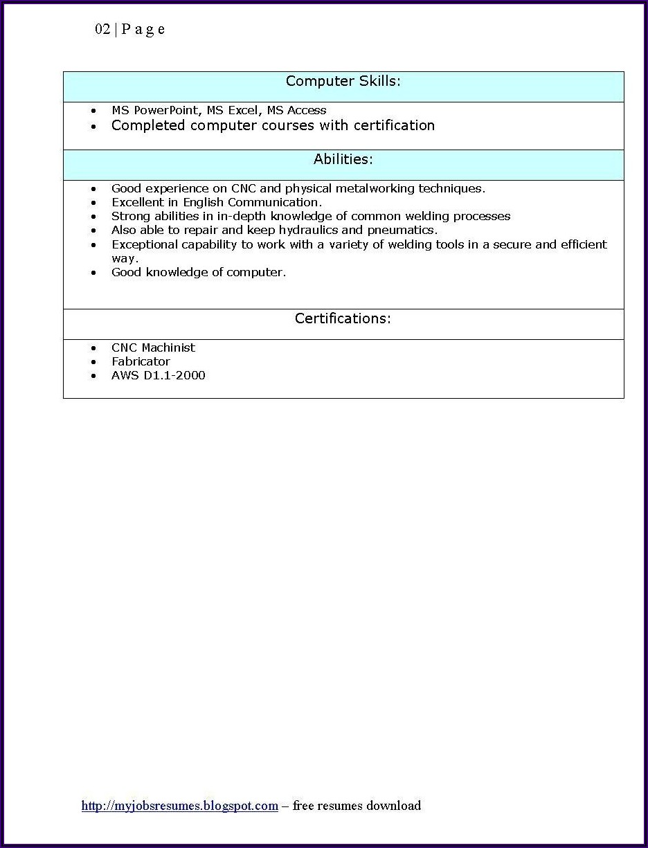 Examples Of Resume For Jobs