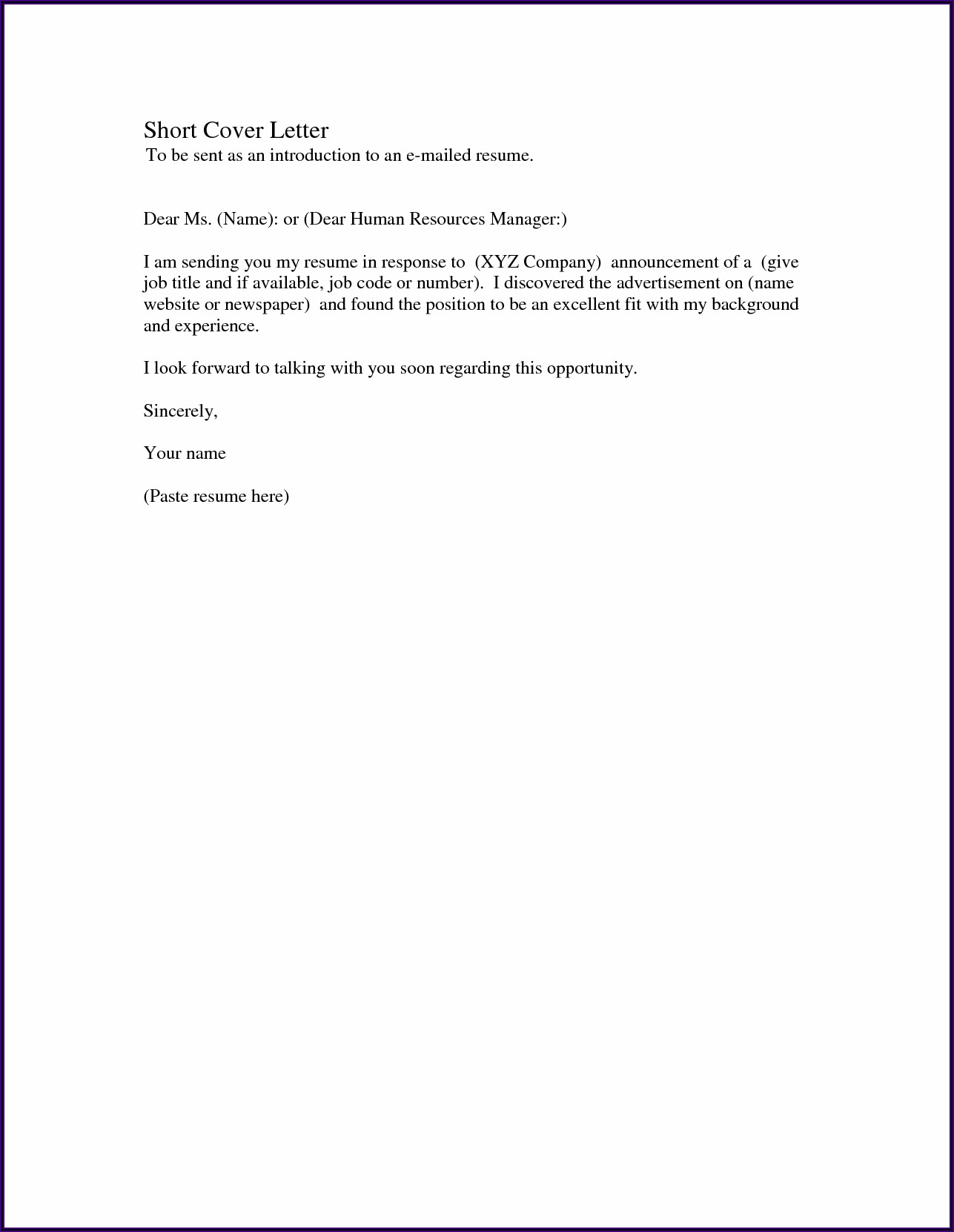 Examples Of Simple Cover Letters For Resumes