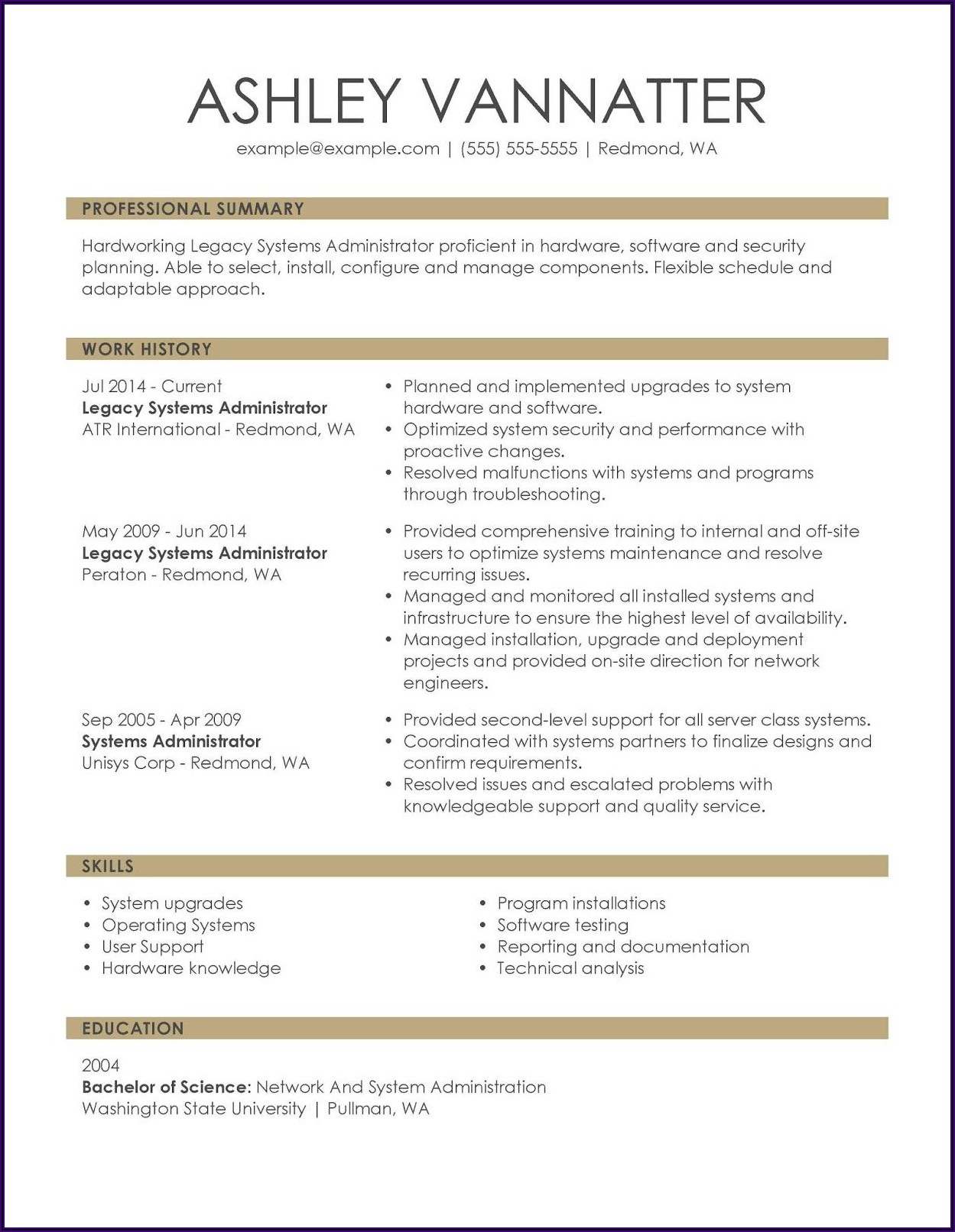 Examples Of Simple Resumes For Jobs