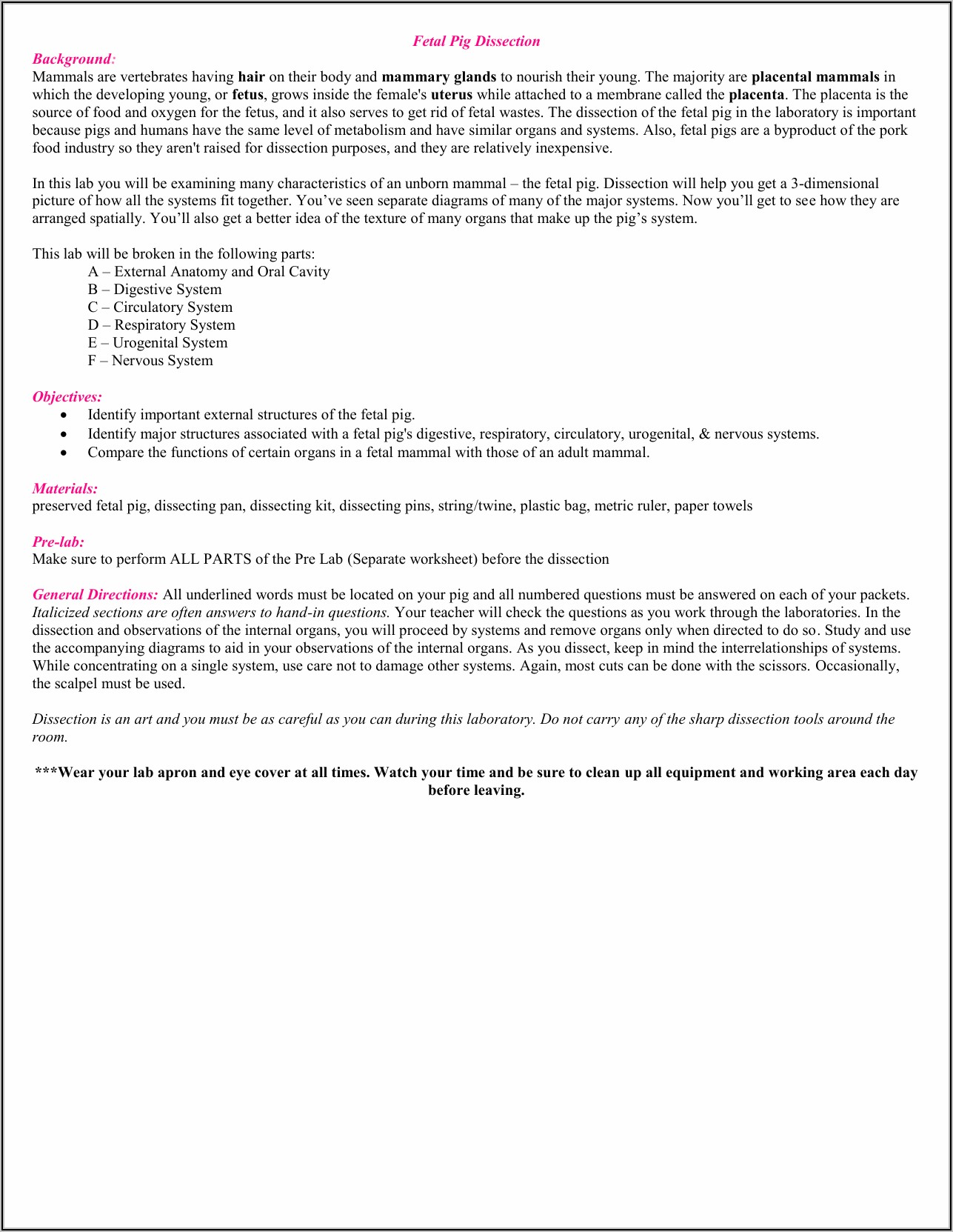 Fetal Pig Dissection Lab Worksheet Answers