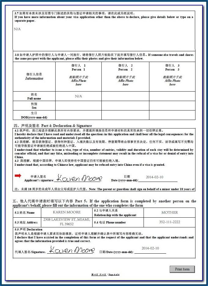 Fillable China Visa Application Form V.2013