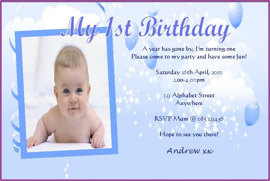 First Birthday Invitations Boy Messages