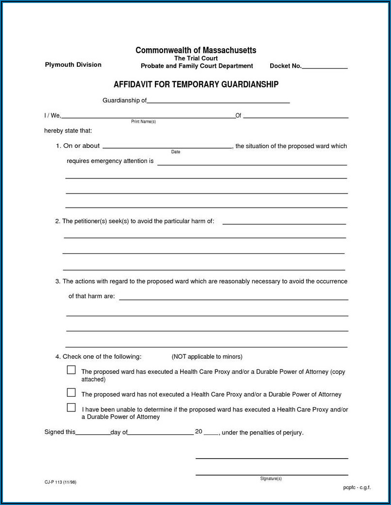 Forms For Temporary Guardianship California