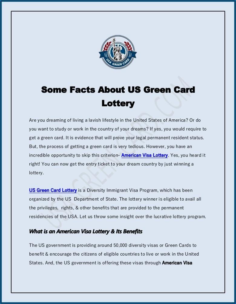 Free America Visa Lottery Application Form