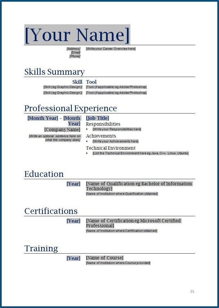 Free Blank Resume Form Download