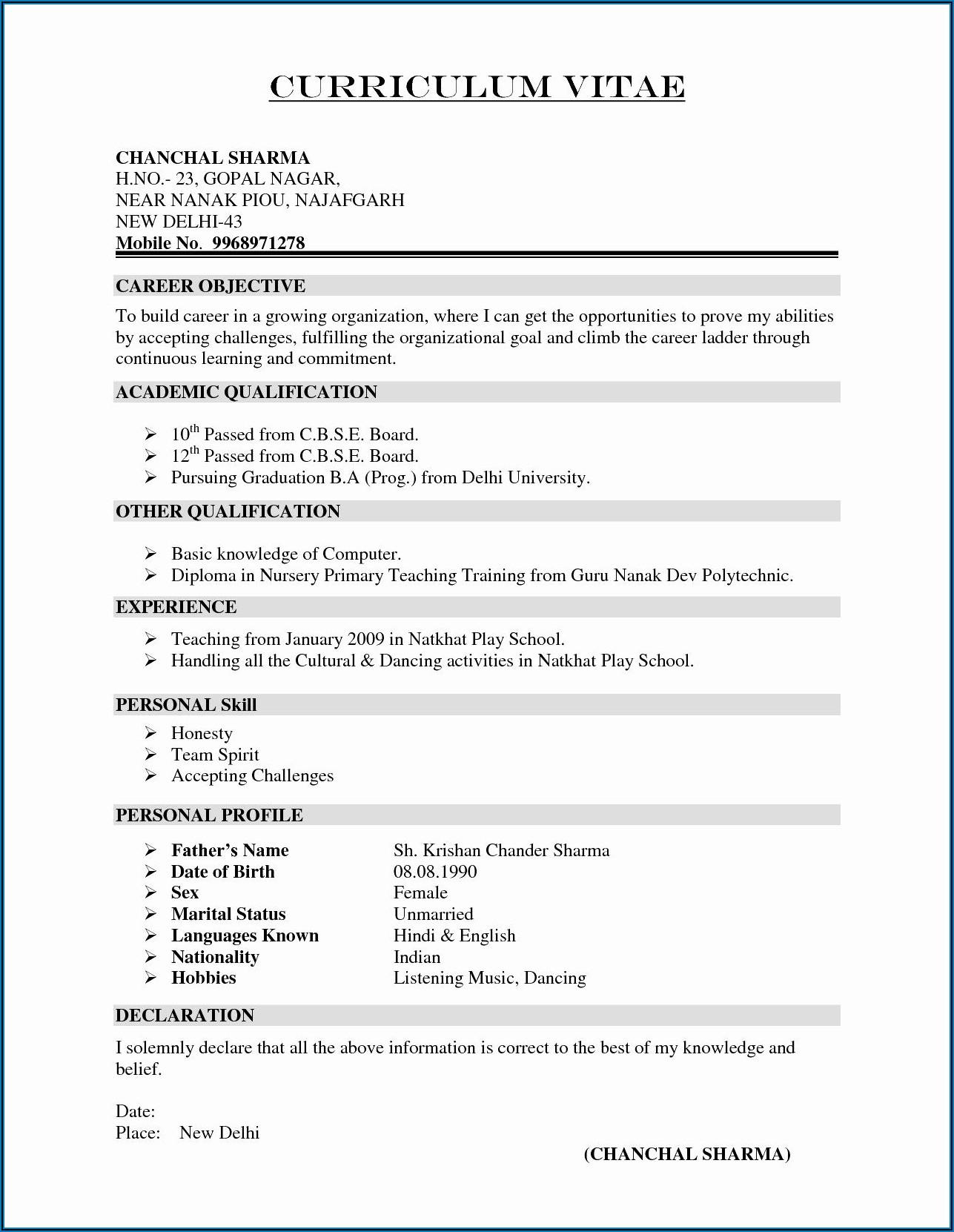 Free Blank Resume Templates Word