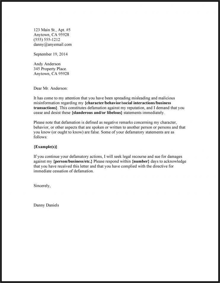 Free Cease And Desist Letter Template Copyright Infringement