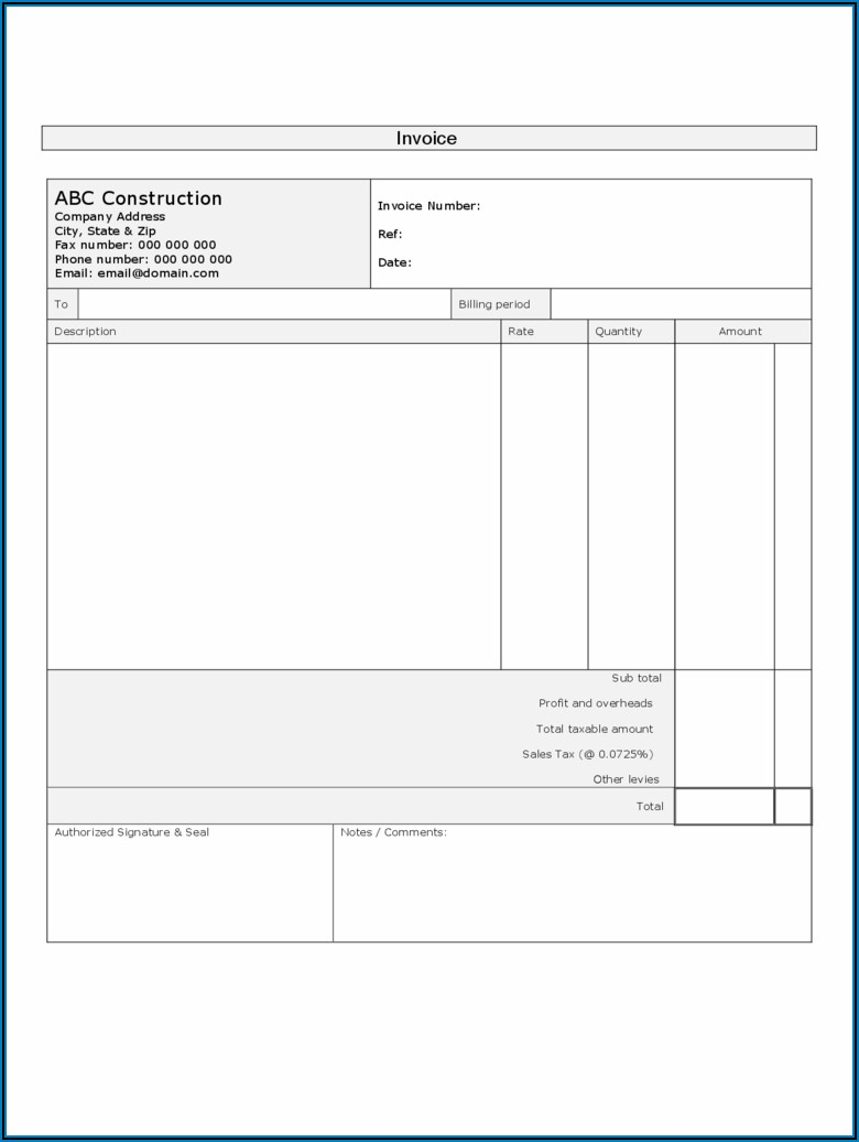 Free Construction Invoice Template Pdf
