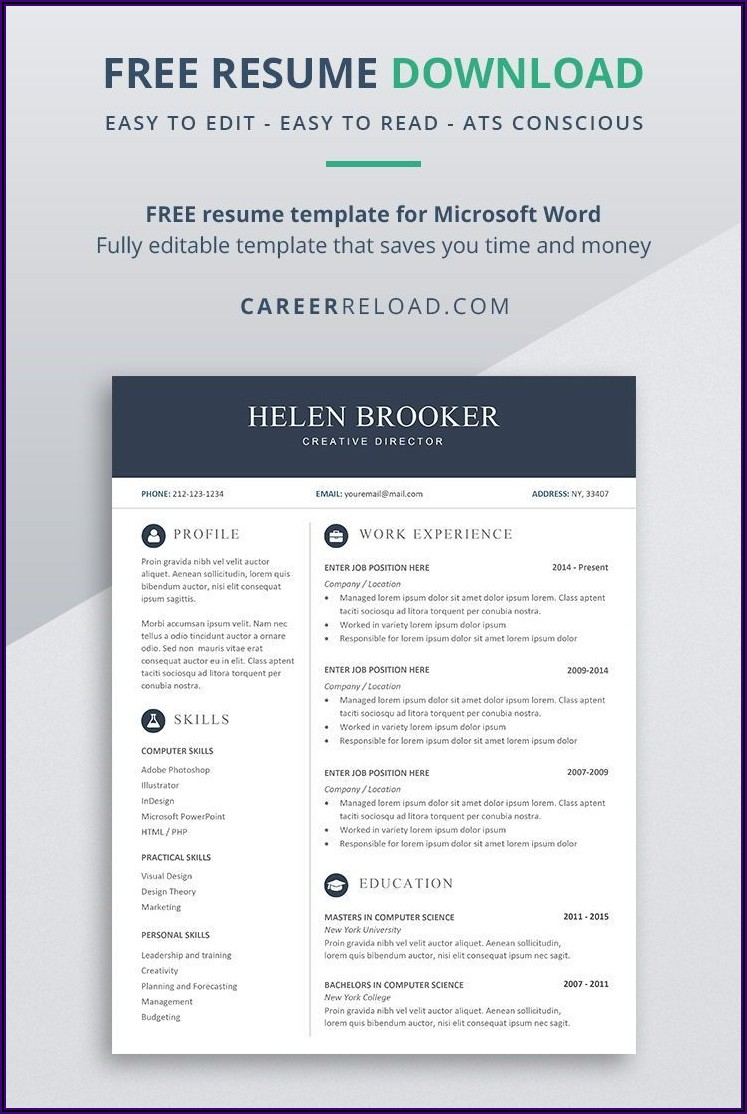 Free Cv Template Download Microsoft Word