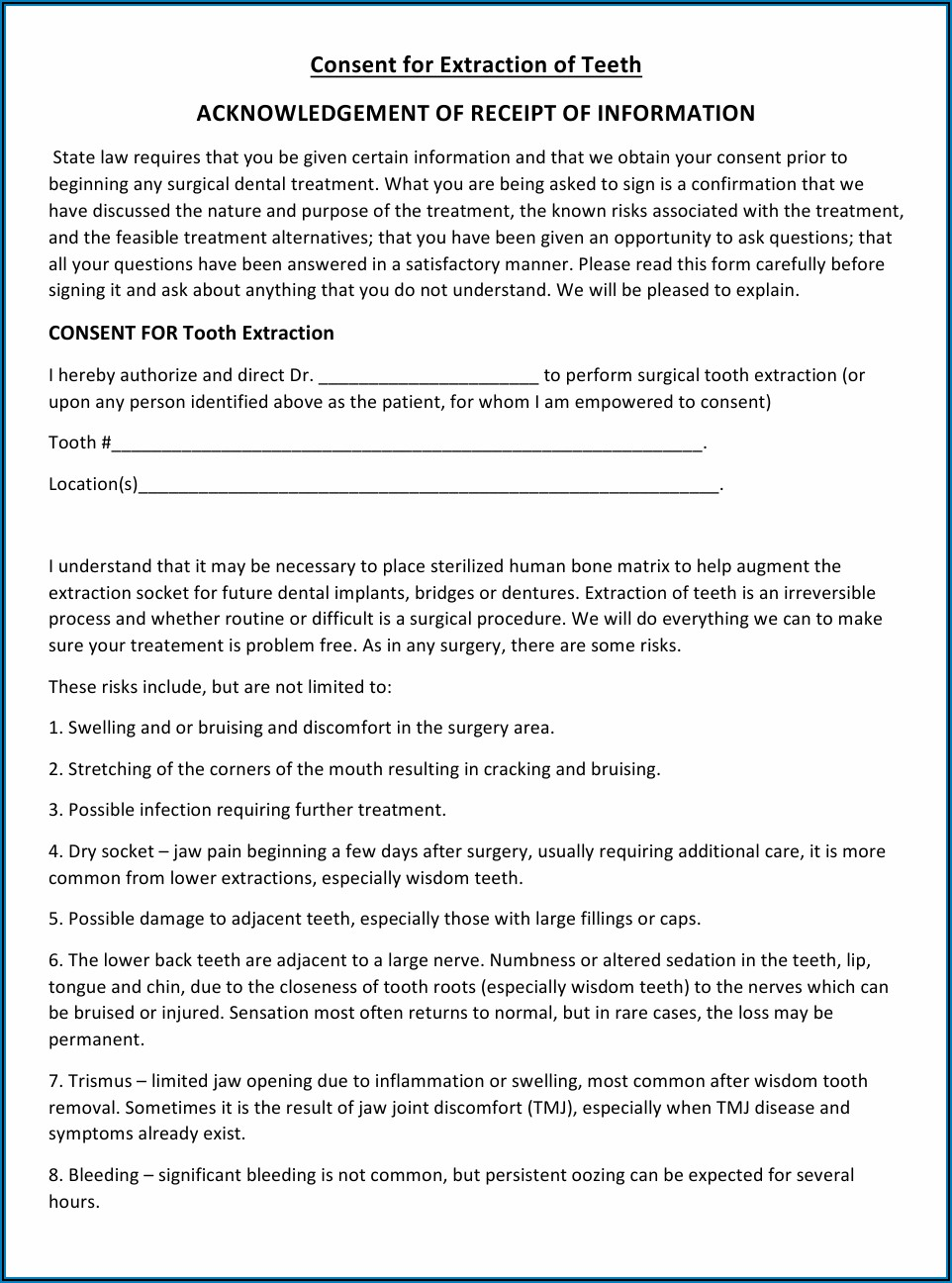 Free Dental Treatment Consent Forms