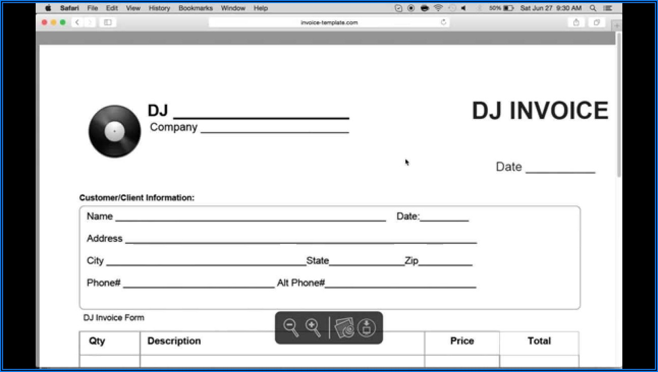Free Dj Invoice Template Word