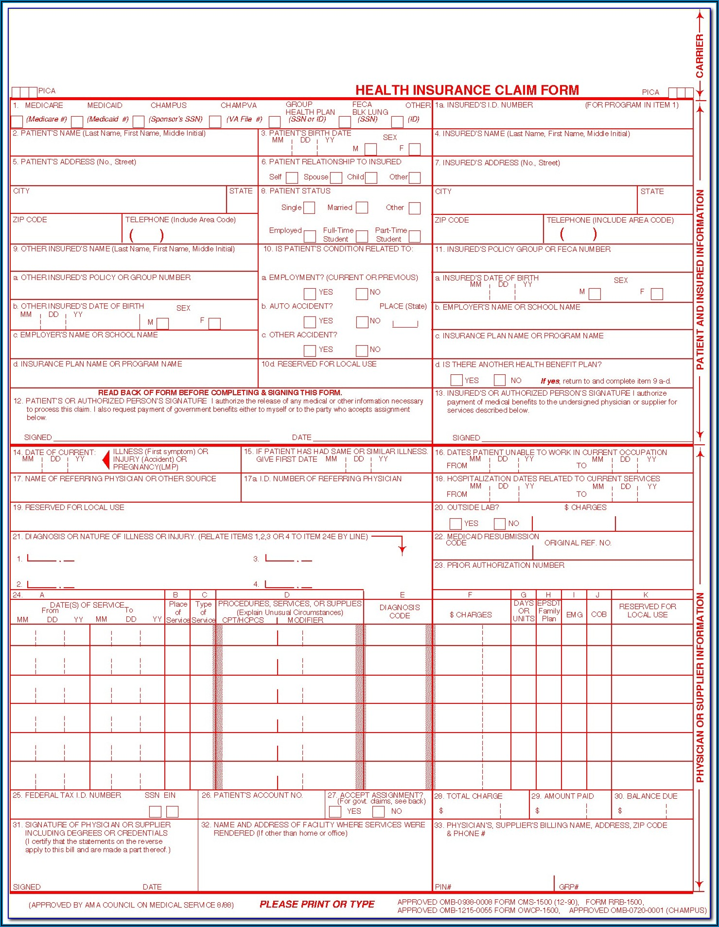 Free Fillable Cms 1500 Claim Form