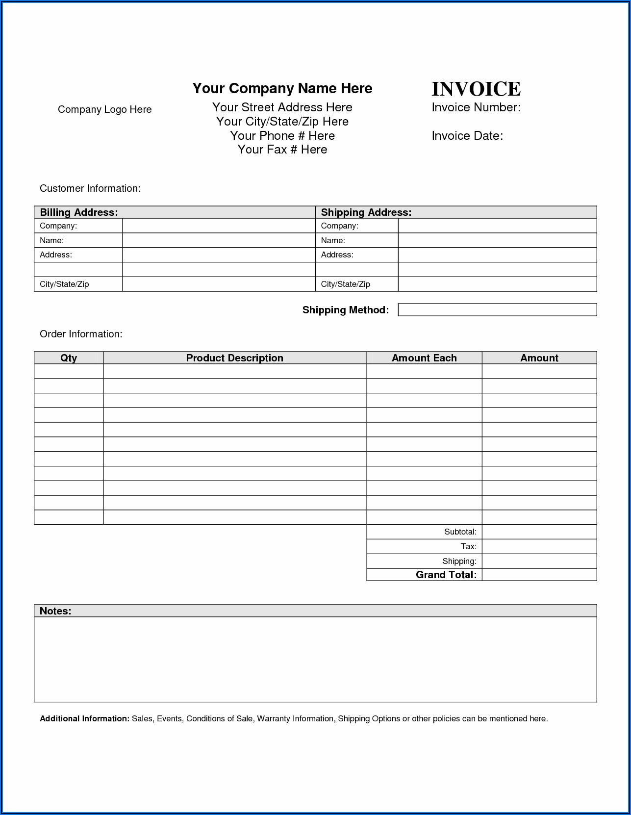 Free Invoice Template Microsoft Word
