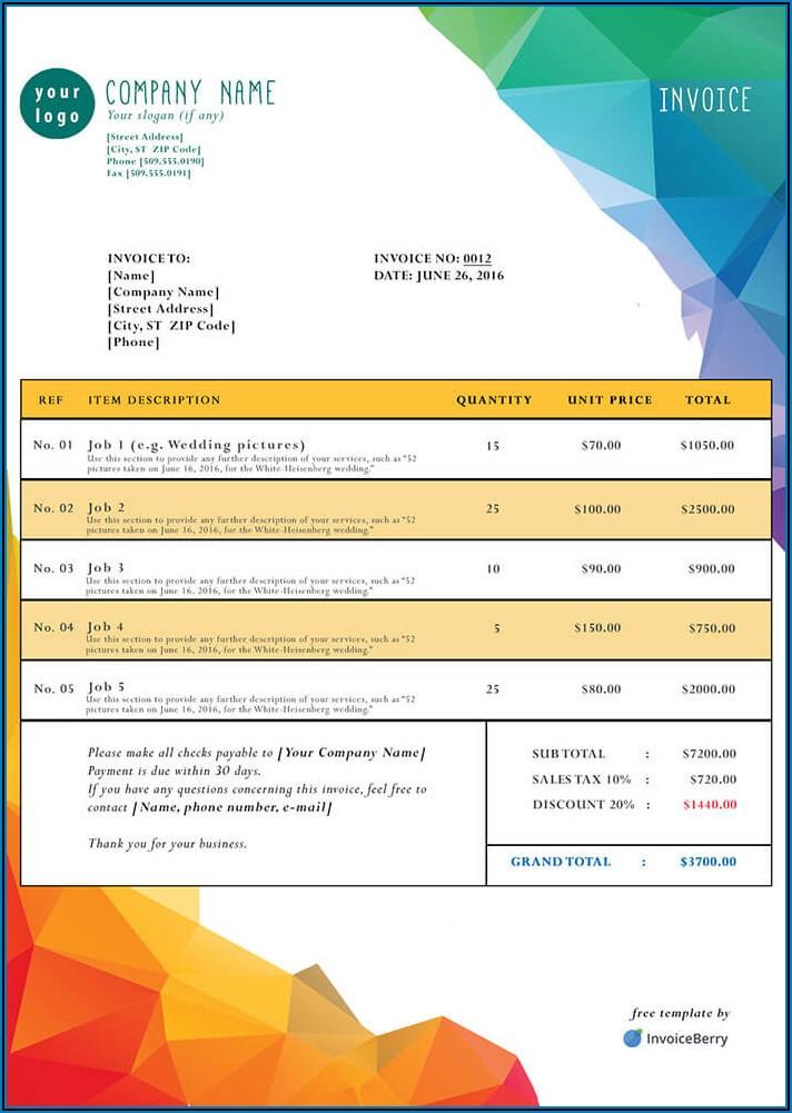Free Invoice Template Pdf Download