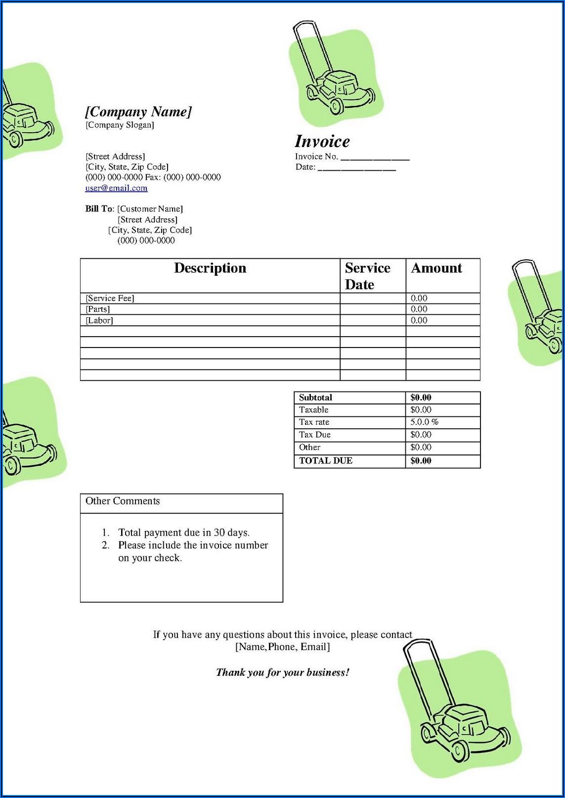 Free Lawn Service Invoice Template