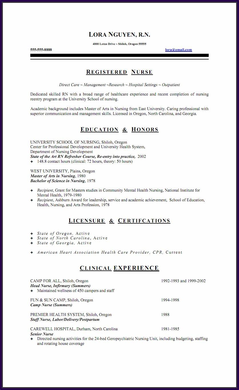 Free Nursing Cv Template Australia