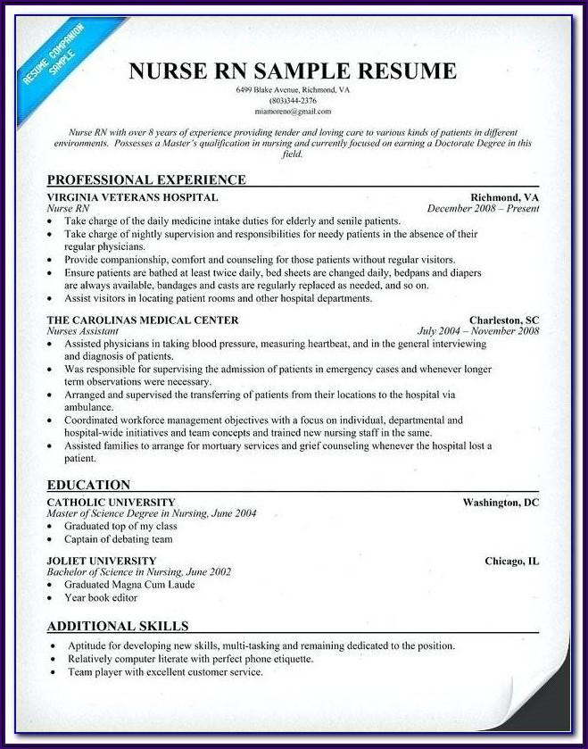 Free Nursing Resume Template Download
