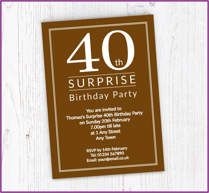 Free Online Surprise 40th Birthday Invitations