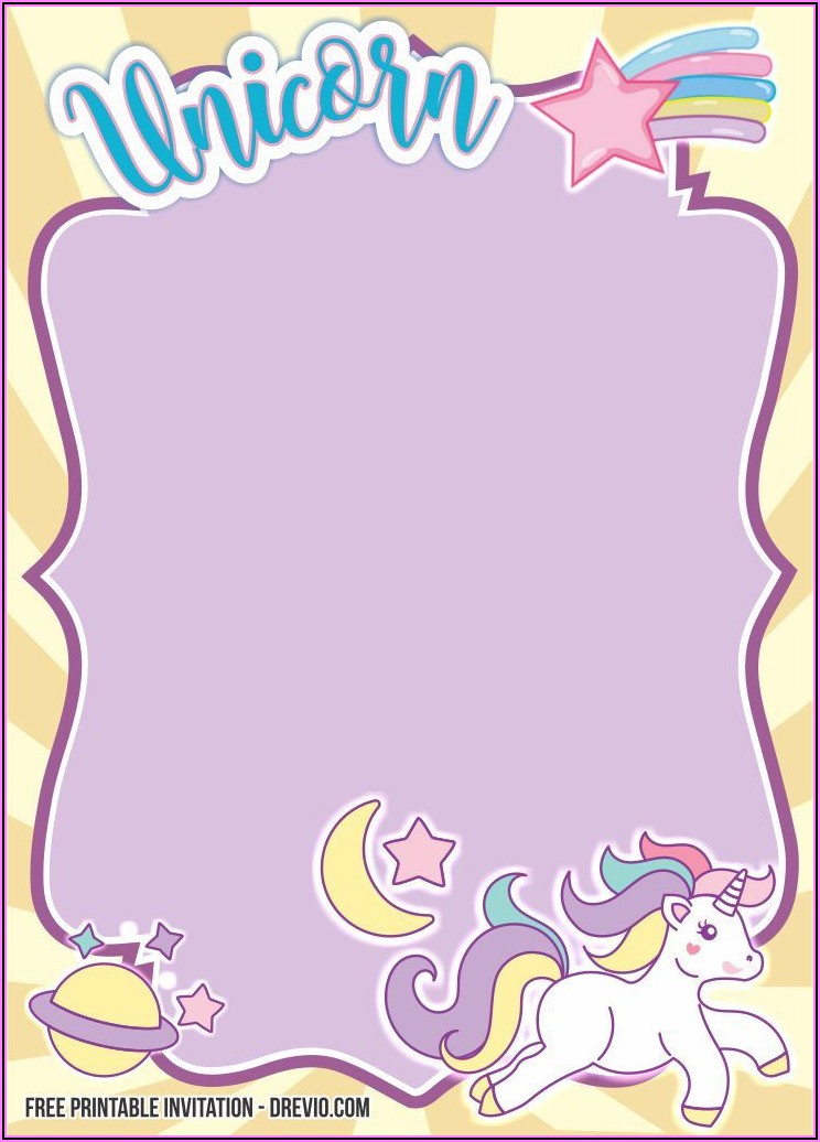 Free Printable Birthday Invitation Templates Unicorn