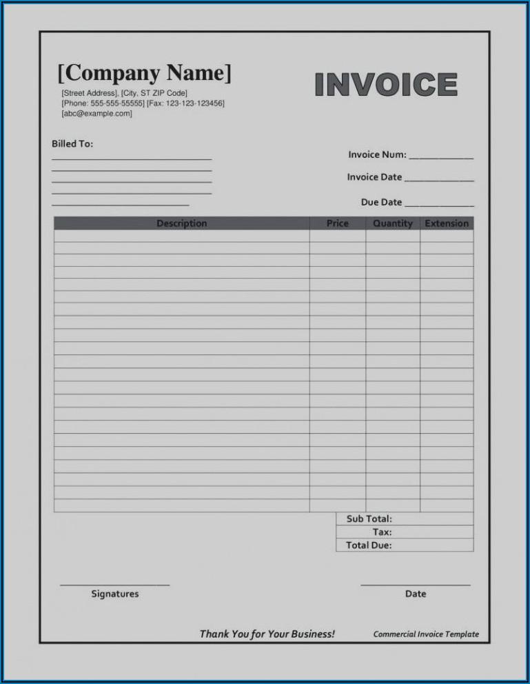 Free Printable Blank Invoice Templates