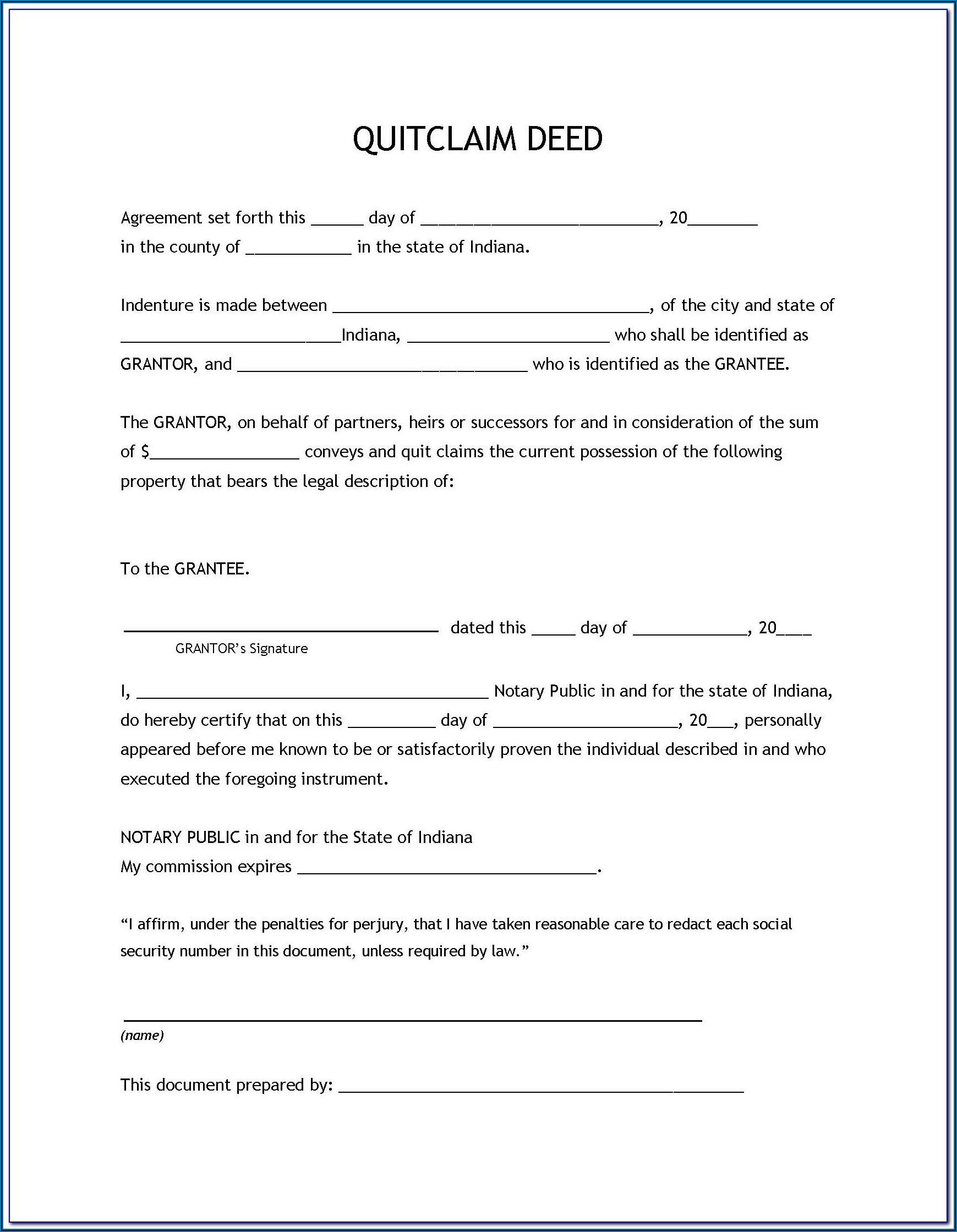 Free Printable Quit Claim Deed Form Arizona