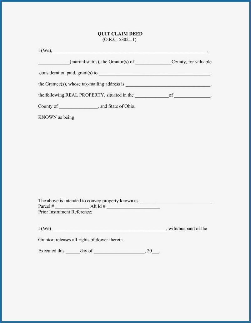 Free Printable Quit Claim Deed Form Ohio