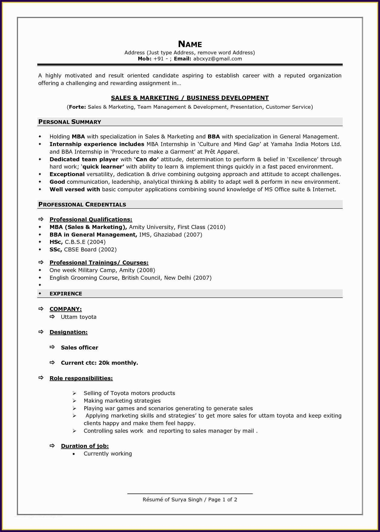 Free Resume Format Download In Ms Word