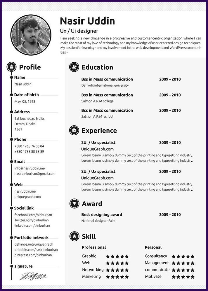 Free Resume Templates 2018 Download