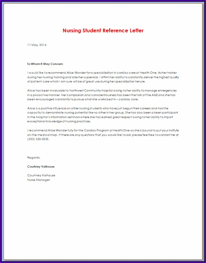 Free Sample Of Letter Of Recommendation For A Nurse Coworker